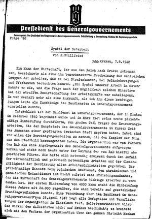 Pressedienst des Generalgouvernements / Pressechef der Regierung des Generalgouvernements vom 07.08.1942