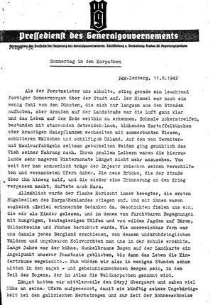 Pressedienst des Generalgouvernements / Pressechef der Regierung des Generalgouvernements vom 11.08.1942