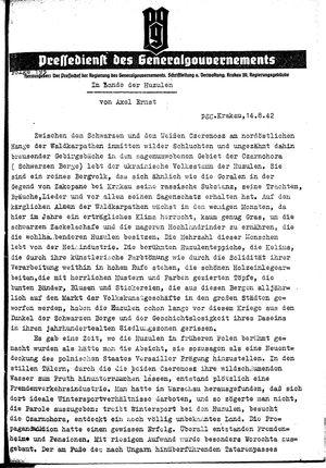 Pressedienst des Generalgouvernements / Pressechef der Regierung des Generalgouvernements vom 14.08.1942