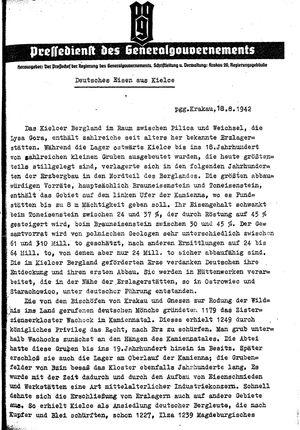 Pressedienst des Generalgouvernements / Pressechef der Regierung des Generalgouvernements vom 18.08.1942