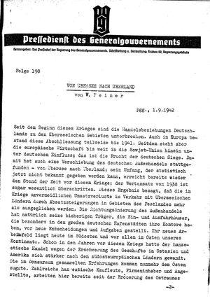 Pressedienst des Generalgouvernements / Pressechef der Regierung des Generalgouvernements on Sep 1, 1942