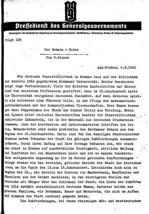 Pressedienst des Generalgouvernements / Pressechef der Regierung des Generalgouvernements vom 04.09.1942