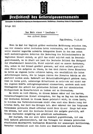 Pressedienst des Generalgouvernements / Pressechef der Regierung des Generalgouvernements vom 11.09.1942