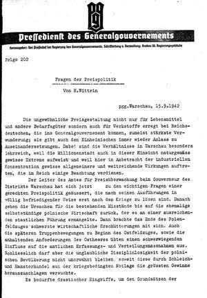 Pressedienst des Generalgouvernements / Pressechef der Regierung des Generalgouvernements vom 15.09.1942