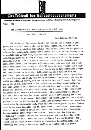 Pressedienst des Generalgouvernements / Pressechef der Regierung des Generalgouvernements vom 18.09.1942