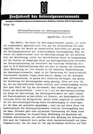Pressedienst des Generalgouvernements / Pressechef der Regierung des Generalgouvernements vom 22.09.1942