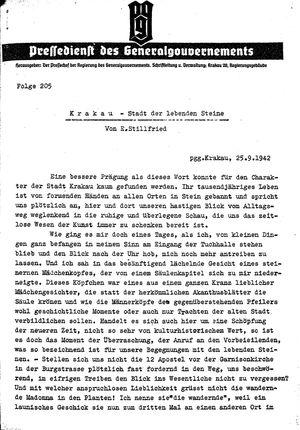 Pressedienst des Generalgouvernements / Pressechef der Regierung des Generalgouvernements vom 25.09.1942