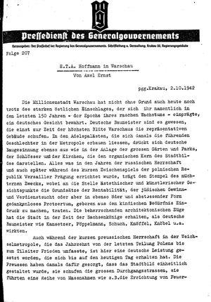 Pressedienst des Generalgouvernements / Pressechef der Regierung des Generalgouvernements vom 02.10.1942