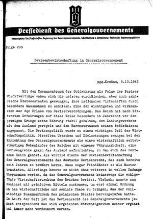 Pressedienst des Generalgouvernements / Pressechef der Regierung des Generalgouvernements vom 06.10.1942