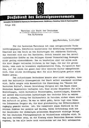 Pressedienst des Generalgouvernements / Pressechef der Regierung des Generalgouvernements vom 09.10.1942
