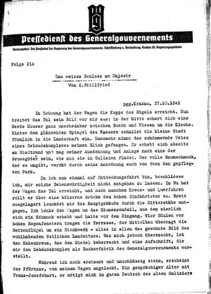 Pressedienst des Generalgouvernements / Pressechef der Regierung des Generalgouvernements vom 27.10.1942