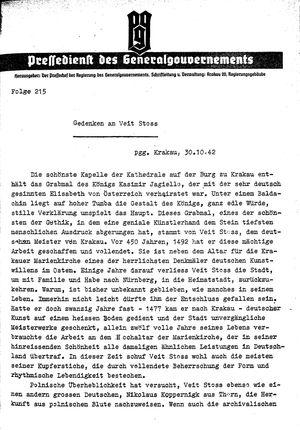 Pressedienst des Generalgouvernements / Pressechef der Regierung des Generalgouvernements vom 30.10.1942