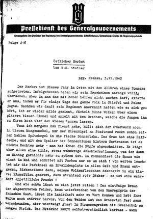 Pressedienst des Generalgouvernements / Pressechef der Regierung des Generalgouvernements vom 03.11.1942