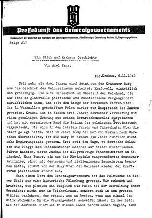 Pressedienst des Generalgouvernements / Pressechef der Regierung des Generalgouvernements vom 06.11.1942