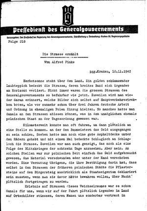 Pressedienst des Generalgouvernements / Pressechef der Regierung des Generalgouvernements vom 10.11.1942