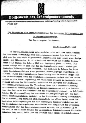 Pressedienst des Generalgouvernements / Pressechef der Regierung des Generalgouvernements vom 13.11.1942
