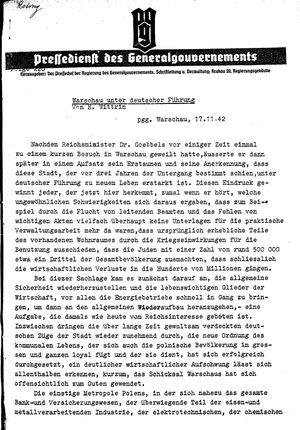 Pressedienst des Generalgouvernements / Pressechef der Regierung des Generalgouvernements vom 17.11.1942