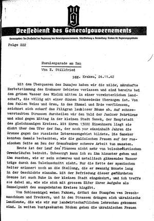 Pressedienst des Generalgouvernements / Pressechef der Regierung des Generalgouvernements vom 24.11.1942