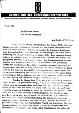 Pressedienst des Generalgouvernements / Pressechef der Regierung des Generalgouvernements vom 27.11.1942