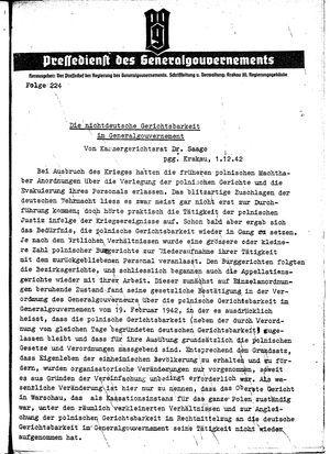 Pressedienst des Generalgouvernements / Pressechef der Regierung des Generalgouvernements vom 01.12.1942