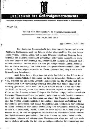Pressedienst des Generalgouvernements / Pressechef der Regierung des Generalgouvernements vom 04.12.1942