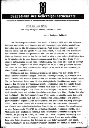 Pressedienst des Generalgouvernements / Pressechef der Regierung des Generalgouvernements vom 08.12.1942