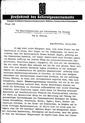 Pressedienst des Generalgouvernements / Pressechef der Regierung des Generalgouvernements vom 15.12.1942
