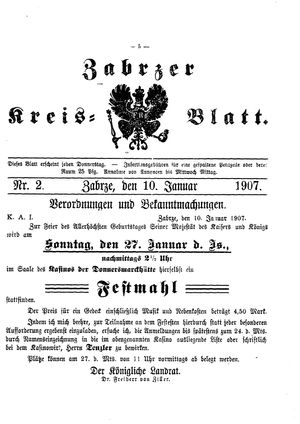 Zabrzer Kreis-Blatt vom 10.01.1907