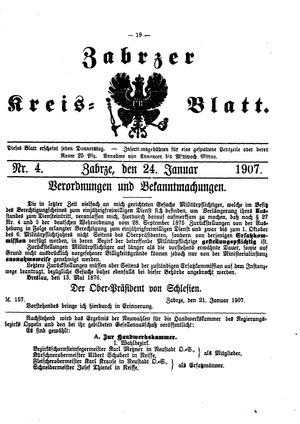 Zabrzer Kreis-Blatt on Jan 24, 1907