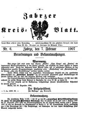 Zabrzer Kreis-Blatt vom 07.02.1907