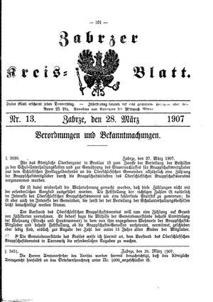 Zabrzer Kreis-Blatt vom 28.03.1907