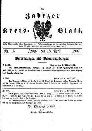 Zabrzer Kreis-Blatt vom 18.04.1907