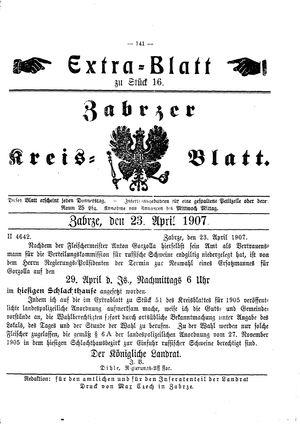 Zabrzer Kreis-Blatt vom 23.04.1907