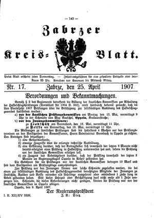 Zabrzer Kreis-Blatt vom 25.04.1907