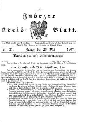 Zabrzer Kreis-Blatt on May 23, 1907