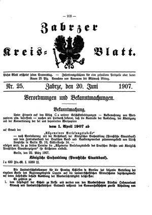 Zabrzer Kreis-Blatt vom 20.06.1907