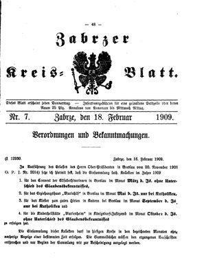 Zabrzer Kreis-Blatt vom 18.02.1909