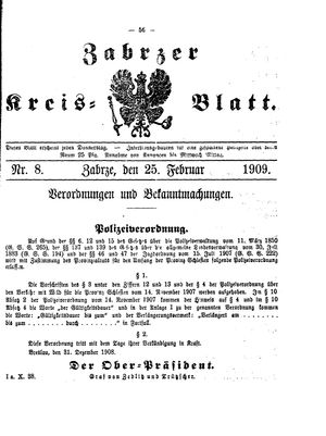 Zabrzer Kreis-Blatt vom 25.02.1909