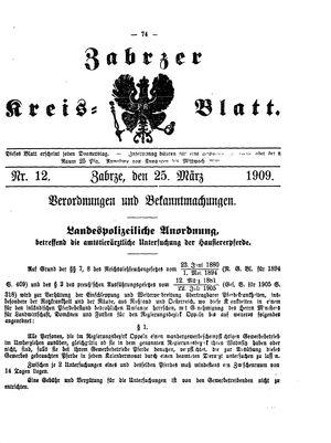 Zabrzer Kreis-Blatt vom 25.03.1909