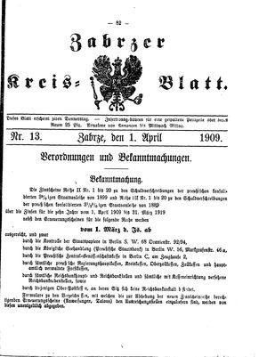 Zabrzer Kreis-Blatt vom 01.04.1909