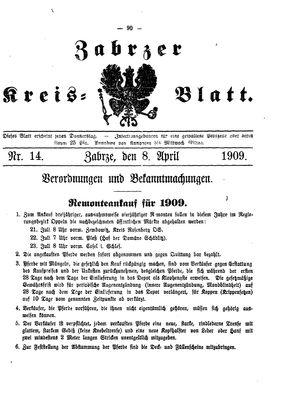 Zabrzer Kreis-Blatt vom 08.04.1909