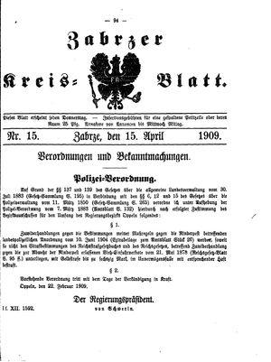 Zabrzer Kreis-Blatt vom 15.04.1909