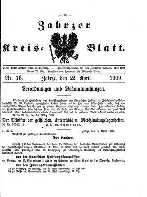 Zabrzer Kreis-Blatt vom 22.04.1909