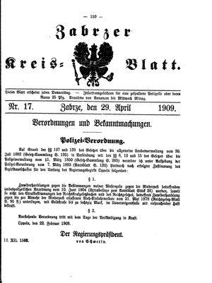 Zabrzer Kreis-Blatt vom 29.04.1909