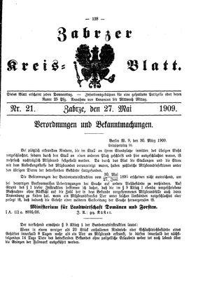 Zabrzer Kreis-Blatt vom 27.05.1909