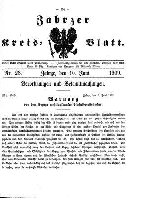 Zabrzer Kreis-Blatt vom 10.06.1909