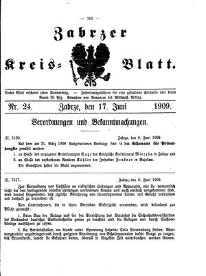Zabrzer Kreis-Blatt vom 17.06.1909