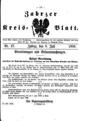 Zabrzer Kreis-Blatt vom 08.07.1909