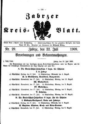 Zabrzer Kreis-Blatt vom 22.07.1909