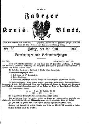Zabrzer Kreis-Blatt vom 29.07.1909